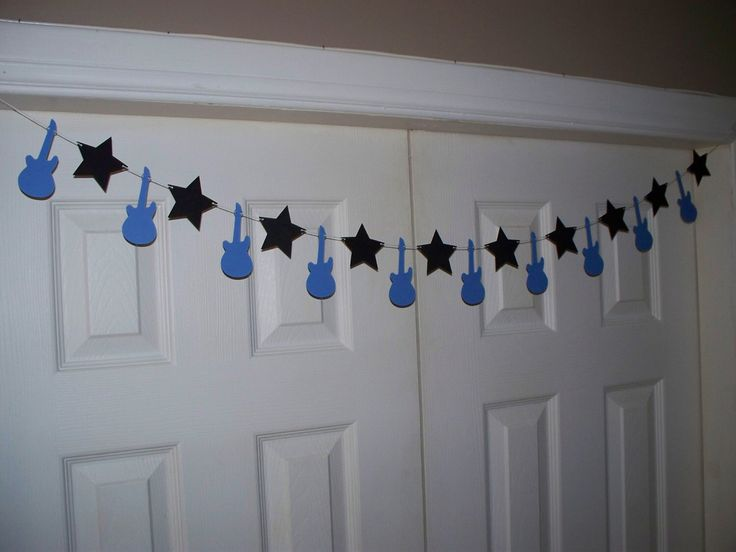 Garland - Guitar, Star - Medium Blue & Black - Rockstar Birthday Party - Rock Star Baby Shower - Wall/Door Decor 4,5,8,10 foot - Boy by BBGarlands on Etsy https://www.etsy.com/listing/247025781/garland-guitar-star-medium-blue-black