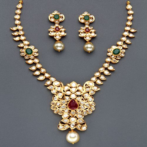 Indian Jewellery and Clothing: Polki Necklace sets from Mangatrai pearls and jewellery..