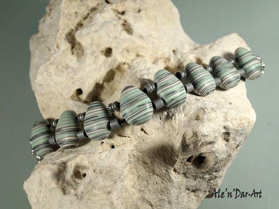 Polymer clay bracelet mint bracelet mint jewelry by AlenDarArt