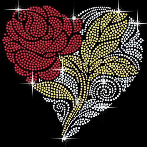 Flower Heart Iron On Hotfix Crystal Diamante T Shirt Motif Patch Gem TWISTED ENVY www.amazon.co.uk/...