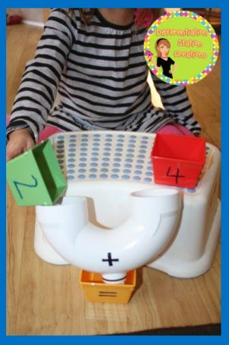 Magical addition machine. Create an interactive addition manipulative out of a PVC drain. Fun, active learning! Great for kinesthetic learners.