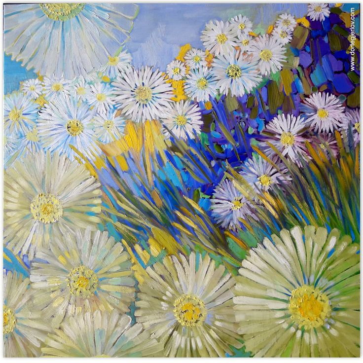 bellis - belissima- tusindfryd - daisies - golden - canvas - oil - painting - www.dortegjerlov.com ,