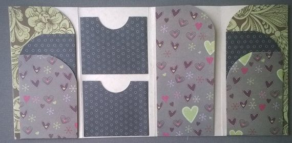 Multi pocket folder for travellers notebooks, Midoris, etc. - Hearts