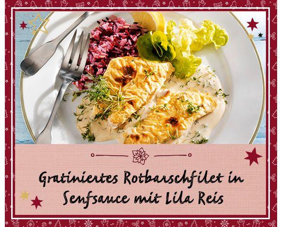 Gratiniertes Rotbarschfilet in Senfsauce mit lila Reis
