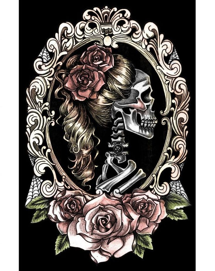 "Too Fast Skull Cameo Poster at Inked Boutique. Matte Paper. 11"" x 17"". Print has thin white border around it. Artist: Catherine Gould. Actual size of graphic is 16 3/8"" x 10 5/8"".Matte Paper."