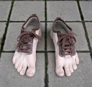 funny play on barefoot running shoes!