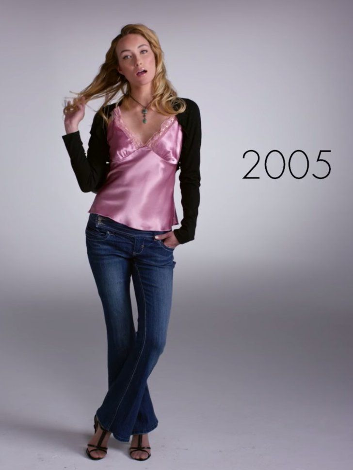 Pin for Later: Watch 1 Woman Wear 100 Years of Fashion Trends in 2 Minutes 2005