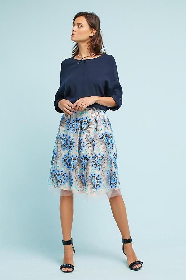 5ee4ca4e3 NWT Anthropologie Eva Franco Solstice Tulle Skirt Sky Motif sz 0 XS Retail  $148 #Anthropologie #SolsticeTulleSkirt