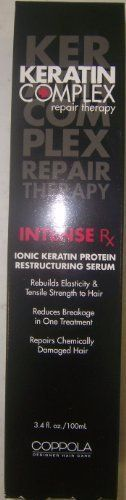Keratin Complex Intense Rx Restructuring Serum 3.4 oz by Keratin Complex. $69.00. Keratin Complex Intense Rx Restructuring Serum 3.4 oz (New Size)   NO MORE DAMAGED HAIR!   INTENSE Rx Ionic Keratin Protein Restructuring Serum uses over 25% of pure Keratin Protein to rebuild the hair's tensile strength, return elasticity and reduce breakage in just one treatment. Through electrostatic penetration, INTENSE Rx fuses to existing protein bonds, restructuring and extending the life of...
