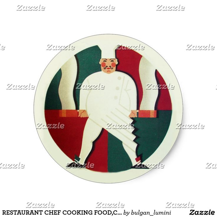 RESTAURANT CHEF COOKING FOOD,CATERING MONOGRAM CLASSIC ROUND STICKER  #culinary #caterer #kitchen #cook #art