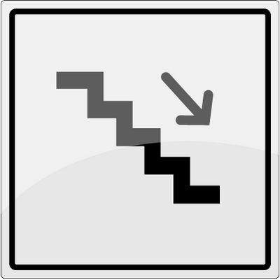 Trappe ned piktogram i rustfrit stål - Køb online -