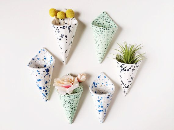 Cone Wall Planter Airplant Holder Wall Pocket by PotteryLodge