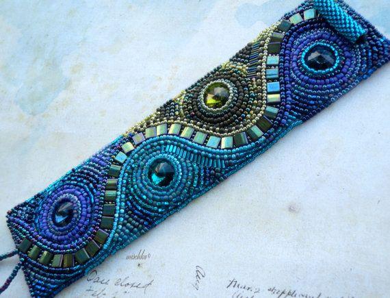 Bead Embroidered Bracelet with Swarovski rivoli by beadedmischka, $125.00