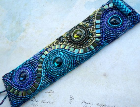 Items similar to Bead Embroidered Bracelet with Swarovski rivoli on Etsy