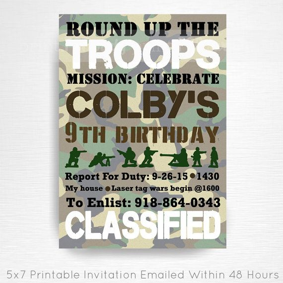 Army Men Birthday Party Printable Invitation YOU Print Camouflage Hunting Party  This is an emailed file, nothing will be shipped to you. Please
