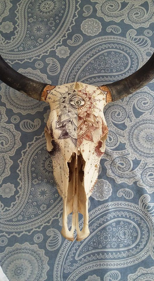 Hand painted cow skull / cow skull