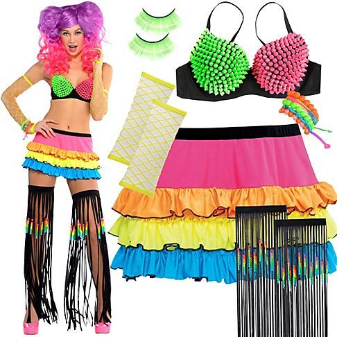 rainbow ravers light up the night in bright mix n match bra tops tutus wigs more all eyes will be on you - All Halloween Costumes Party City