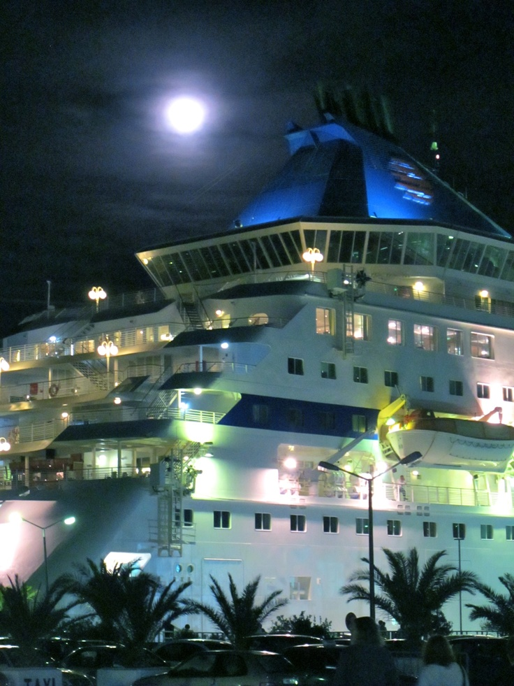 Louis Cristal docked in the Patmos moonlight! Cruise Greece #LouisCruises #Patmos #greek #island #cruise