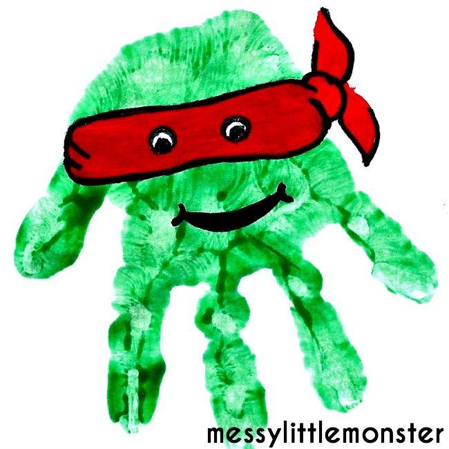 Messy Little Monster: Teenage Mutant Ninja Turtles Handprint Craft