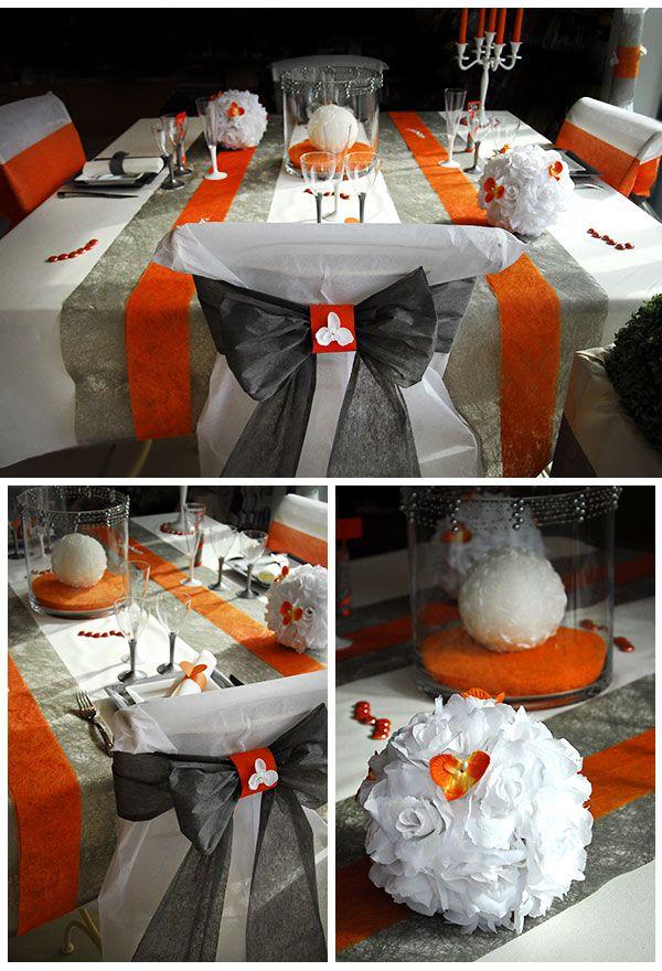 Table de mariage blanche argent et orange, Housse de chaise mariage discount avec noeud orange ou gris