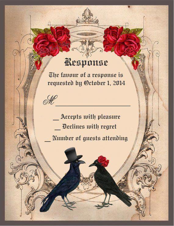 halloween wedding invitation goth wedding invite crow