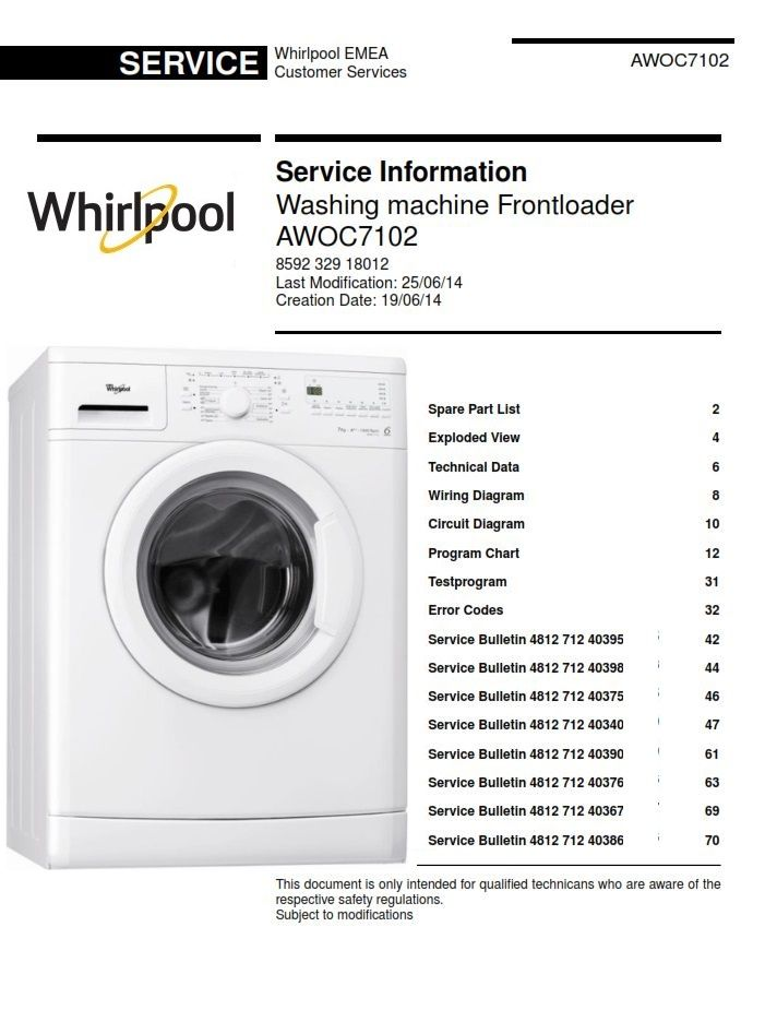 Whirlpool AWOC7102 Front Loader Washing Machine Service Manual | Washing  machine service, Washing machine, Front loader washing machine | Whirlpool Washer Electrical Diagram |  | Pinterest