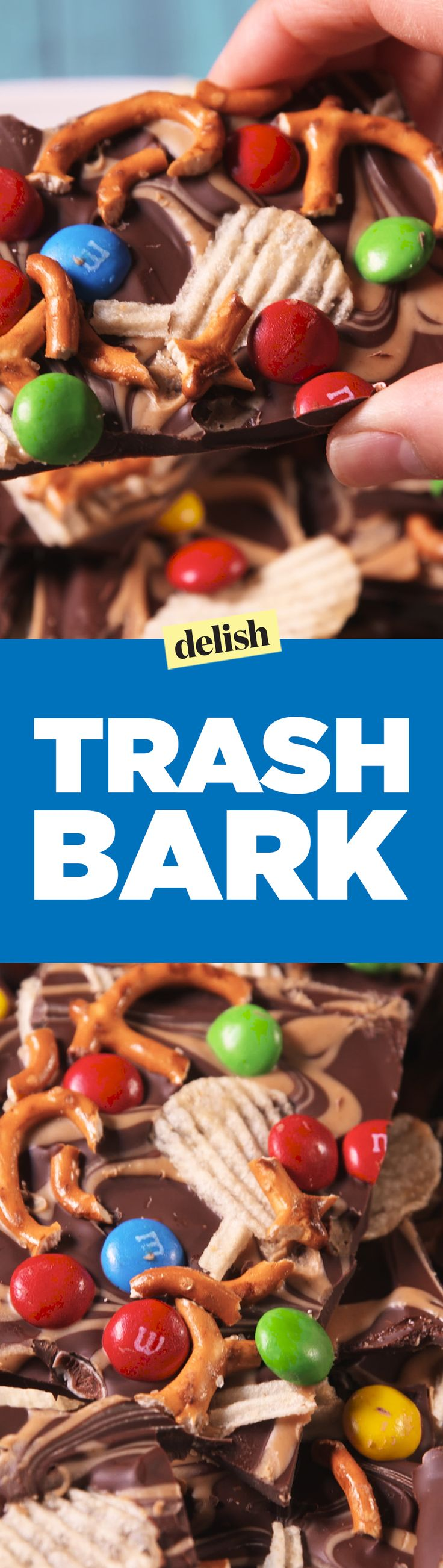 Trash Bark is the easiest salty sweet snack you'll ever make. Get the recipe on Delish.com.