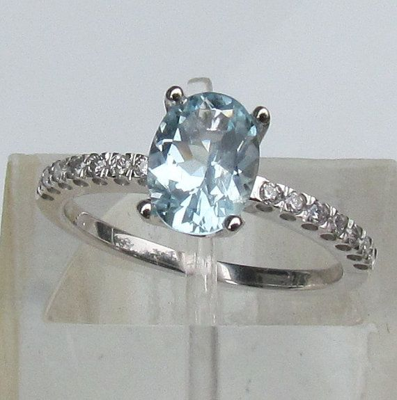 Aquamarine Engagement Ring in 14k White Gold by PristineJewelry.....AND it's my birthstone!