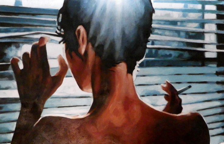 "Saatchi Art Artist: thomas saliot; Oil Painting ""Moonlight Smoke"""