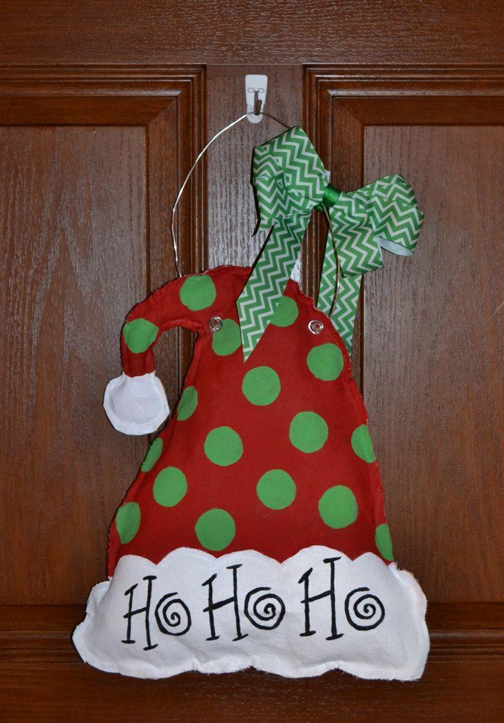 Santa Hat  Burlap Door Hangers by JollisCreations on Etsy