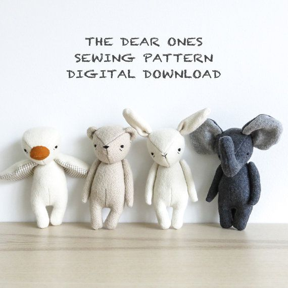sewing pattern – set of four | the dear ones bear, bunny, duck and elephant | soft toy pdf pattern digital download