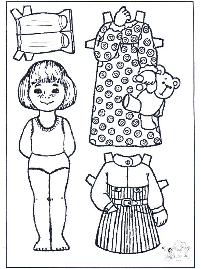 paper doll coloring pages funnycoloringcom crafts paper dolls paper doll - Paper Doll Clothes Coloring Pages