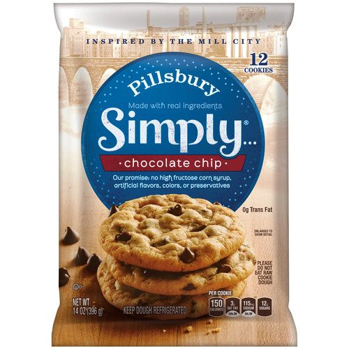 Pillsbury Simply… Chocolate Chip Cookies, 14 oz (00018000445899) 0g trans fat No high fructose corn syrup No artificial flavors, colors or preservatives Kosher dairy
