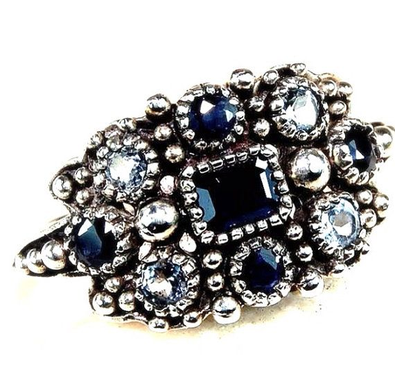 Victorian Style Ring in sterling silver, sapphire & aquamarine size 7 on Etsy, 31,34€