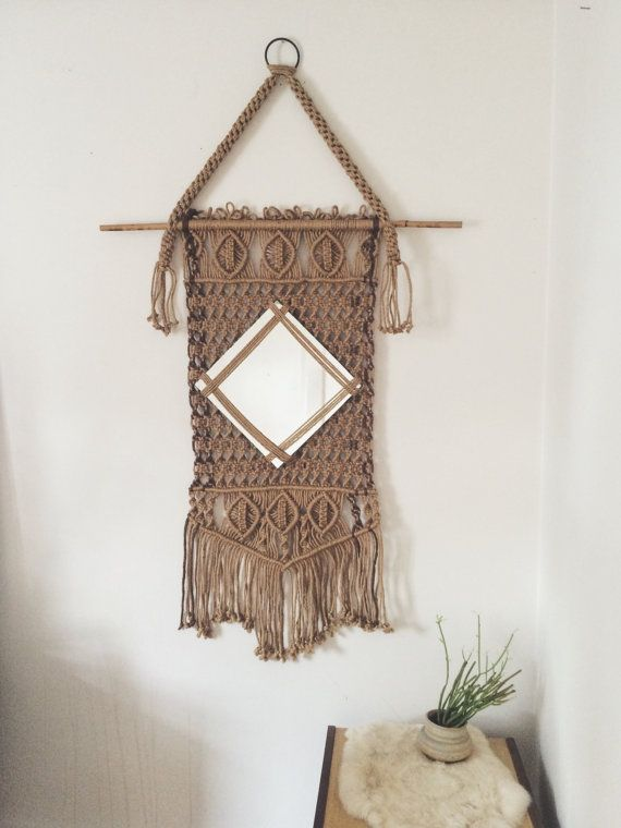 Jute Macramé Mirror Wall Hanging // Large Woven by BillieBoone