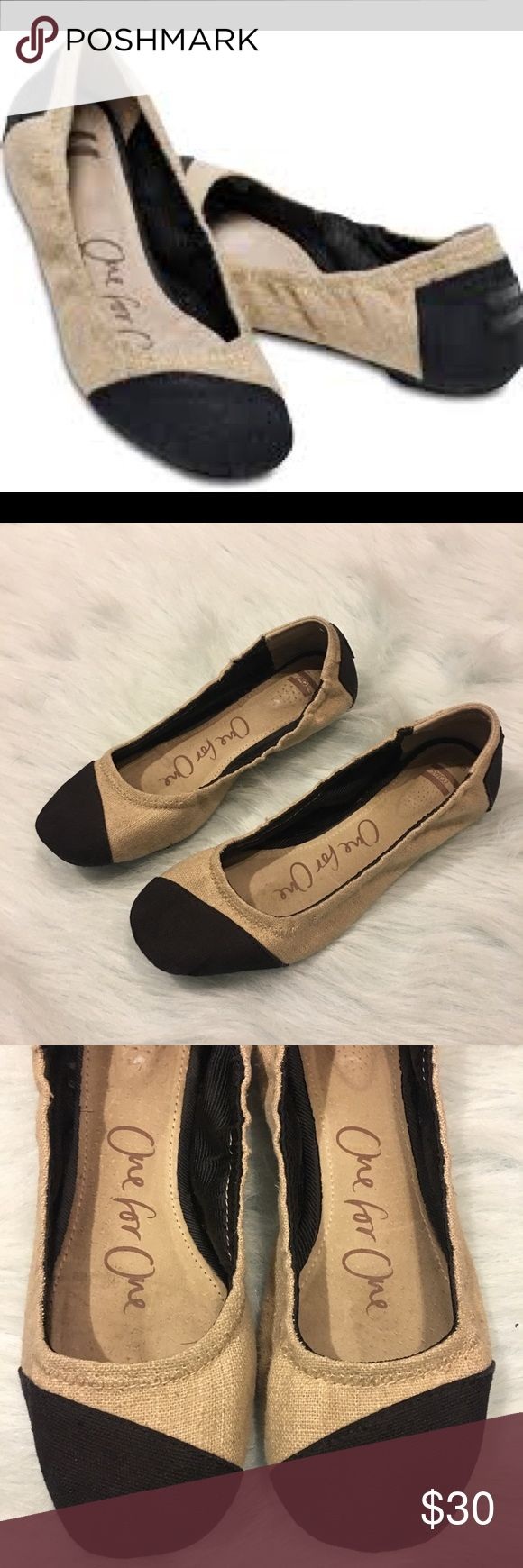 Toms Alessandra Ballet Flat tan black burlap Black and Tan burlap toms flats. In good condition, tons of life left in them! Size 7 TOMS Shoes Flats & Loafers