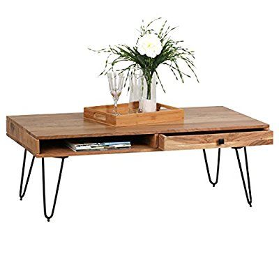 WOHNLING Couchtisch Massiv Holz Akazie 120 Cm Breit Wohnzimmer Tisch Design Metallbeine Landhaus