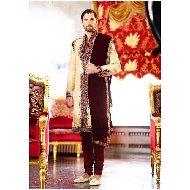We give our Grooms high priority because after all it is their big day too! Here's a look at our gold silk brocade sherwani with antique zardozi embroidary.  We love the look of the maroon velvet against the gold and the velvet shawl adds a royal touch! All of our pieces are customizable to meet your requirements and personal style! Email us at sales@wellgroomed.ca  Out of the country? We've got you covered! We offer phone and skype consultations as well!  Drop by one of our retail…