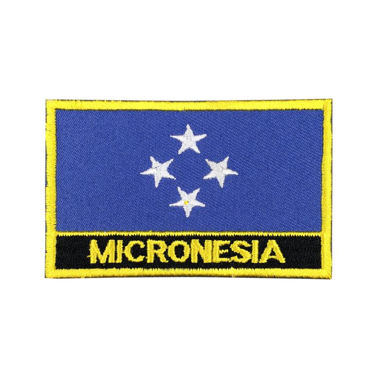 Micronesia Flag Patch Embroidered Patch Gold Border Iron On patch Sew on Patch Bag Patch meet you on Fleckenworld.com