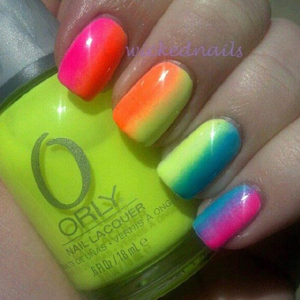 love: Nails Art, Nailart, Nails Design, Summer Nails, Neon Nails, Nails Idea, Nail Art, Rainbows Nails, Rainbows Stuff