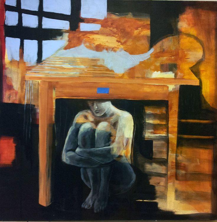 UNDER BORDET BY ANNE-BRITT KRISTIANSEN  #fineart #art #painting #kunst #maleri #bilde  https://annebrittkristiansen.com/paintings/2013/