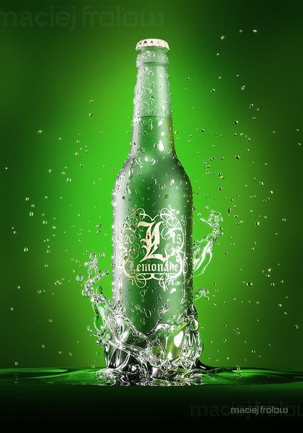 Lemonade bottle with water splashes on Behance
