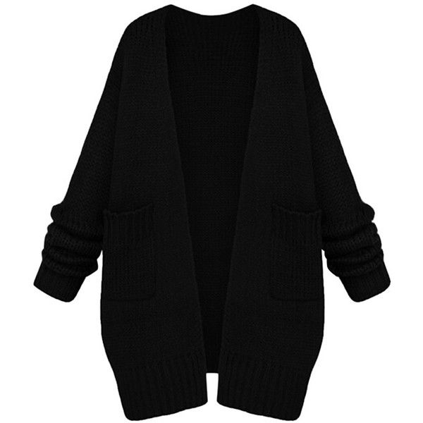 Womens Casual Long Sleeve Cardigan Sweater Coat Black ($48) ❤ liked on Polyvore featuring tops, cardigans, jackets, outerwear, sweaters, black, black top, long sleeve cardigan, black long sleeve top and black cardigan
