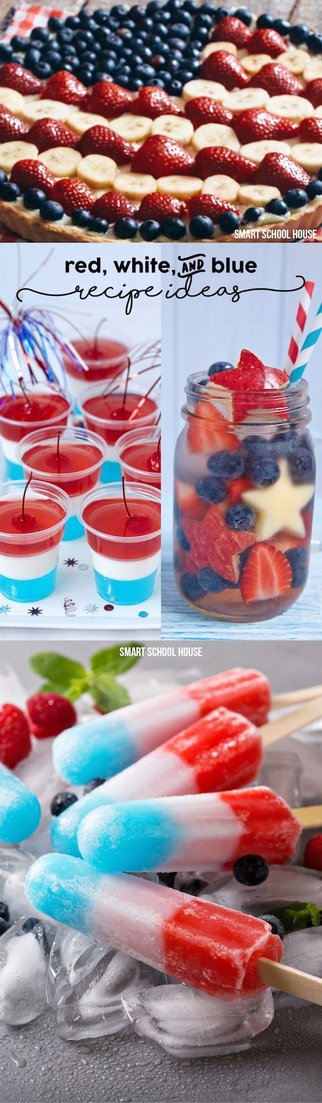 Red, white, and blue recipe ideas for the 4th of July! Desserts and party ideas to save.