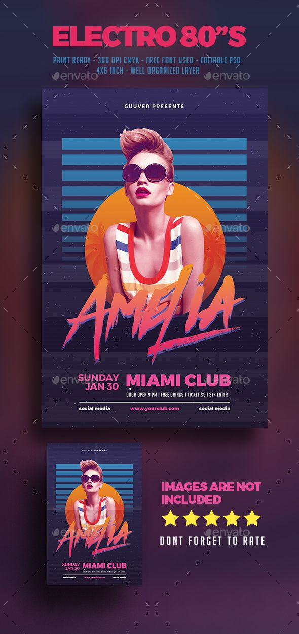80's Electro DJ Party Flyer — Photoshop PSD #guest #print • Download ➝ https://graphicriver.net/item/80s-electro-dj-party-flyer/19682269?ref=pxcr