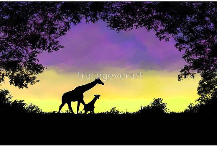 Mother and baby giraffe at sunset by Tracey Lee Art Designs