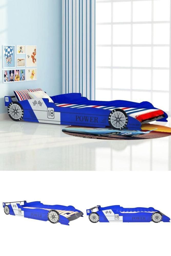 Toddler Bed Frame Race Car Boys Kids Bedroom Safety Side Rails Blue