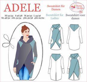ADELE ist ein Schnittmuster (PDF-Datei, E-Book) für ein lässiges, bequemes Sweatshirt mit langen Ärmeln für Damen. Das Sweatshirt verfügt über: - Kapuze - Ärmel mit Bündchen oder - Ärmel ohne Bündchen - Taschen in 3 Nähvarianten Das E-Book ist nur für dehnbare Stoffe wie Sweat, Jersey oder Strick und Fleece konzipiert. - Mehrgrößenschnitt Damen : 32/34 (XS), 36/38 (S), 40/42 (M), 44/46 (L), 48/50 (XL), 52/54 (2XL), 56/58 (3XL), 60/62 (4XL) - Schritt-für-Schritt-Anleitung mit Bildern und…