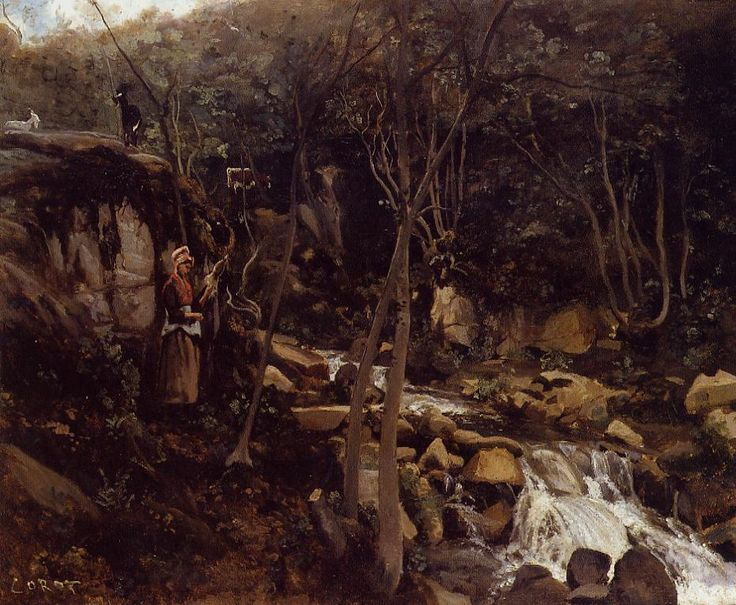 Lormes, A Waterfall with a Standing Peasant, Spinning Wool, 1842 by Camille Corot. Realism. landscape. Private Collection