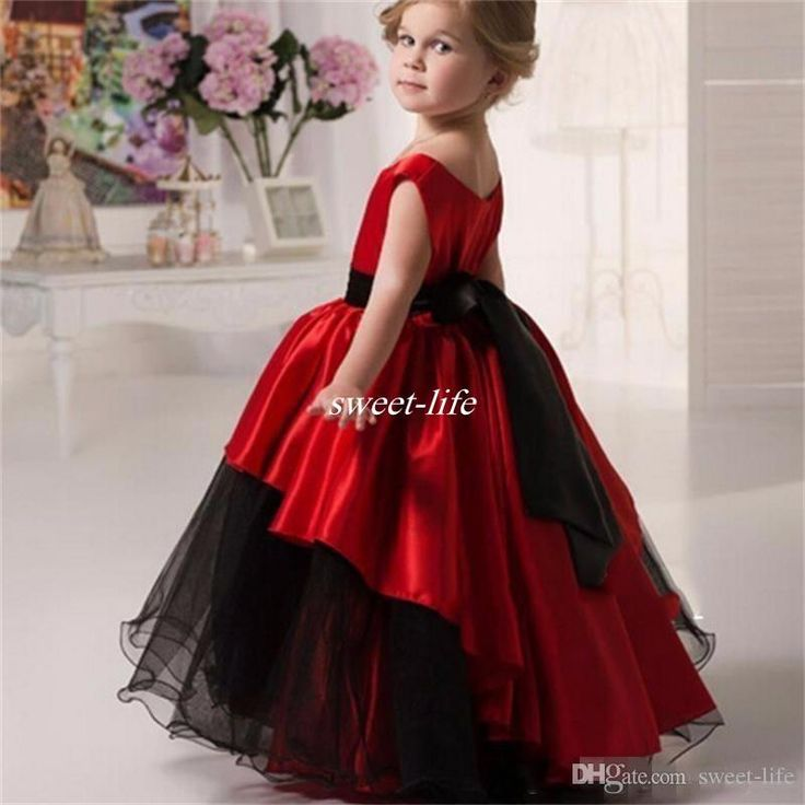 Lovely Black And Red Flower For Wedding Ball Gown Tutu Crew Floor Length 2016 Little S Party Birthday Communion Gowns As Low